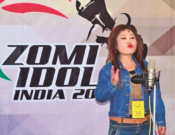 Crooner Bethsy Gangte performing during the first elimination round of Indian chapter of Zomi Idol contest at Churachandpur