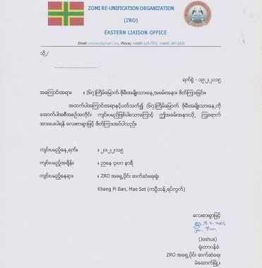 ZRO Eastern Liaison Office, Thailand pan a 67 veina Zomi Namni ading sapna lai