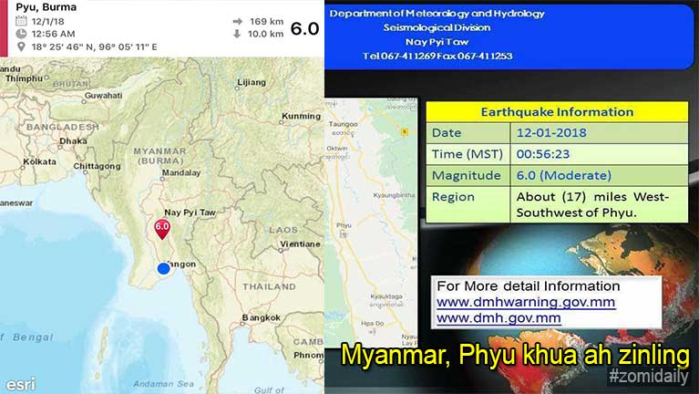 Myanmar, Phyu khua ah 6.0 Magnitude thahatna tawh zinling