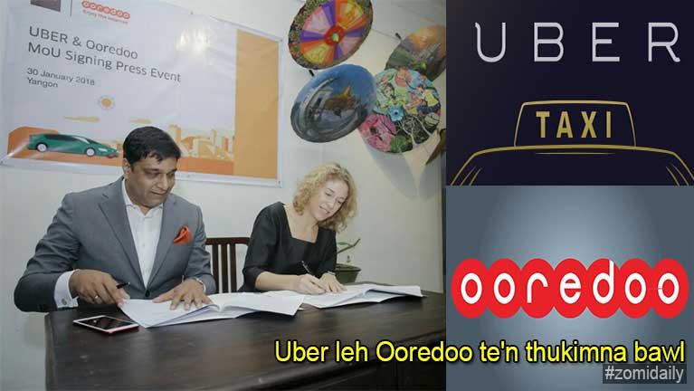 Yangon khuasung kikawmna alemzawding ngimna tawh Uber leh Ooredoo te'n thukimna bawl