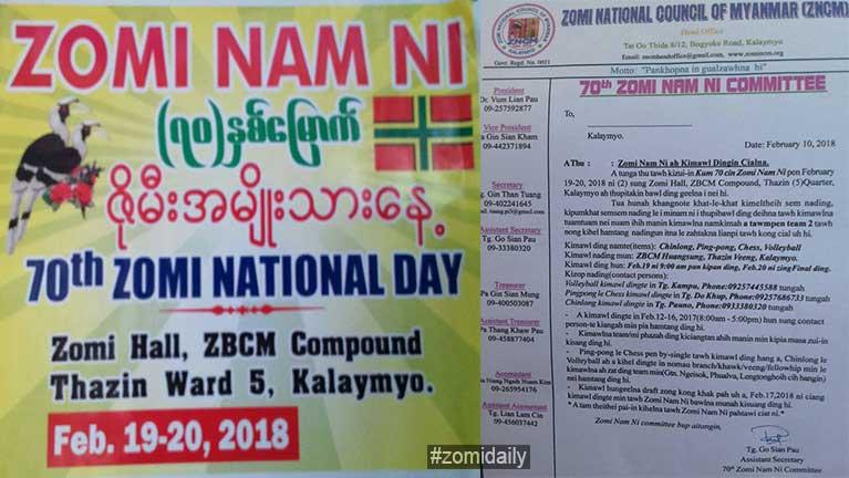 Kalaymyo: A 70th veina Zomi Nam Ni hong naita